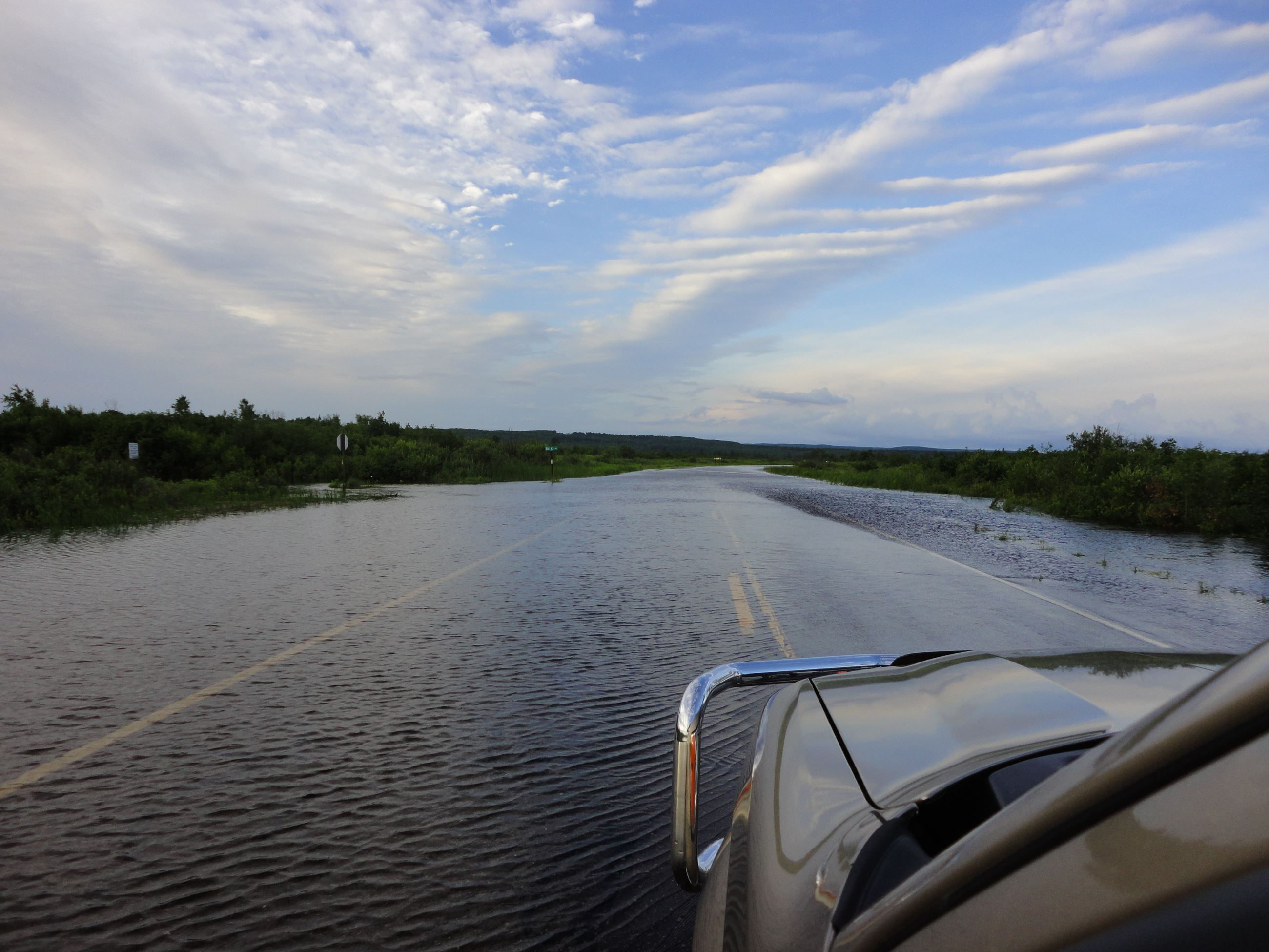 Highway 63 is mostly underwater by Old 63