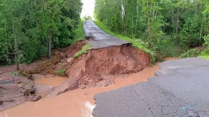 Ashland County's Hanninen Road is completely cut.