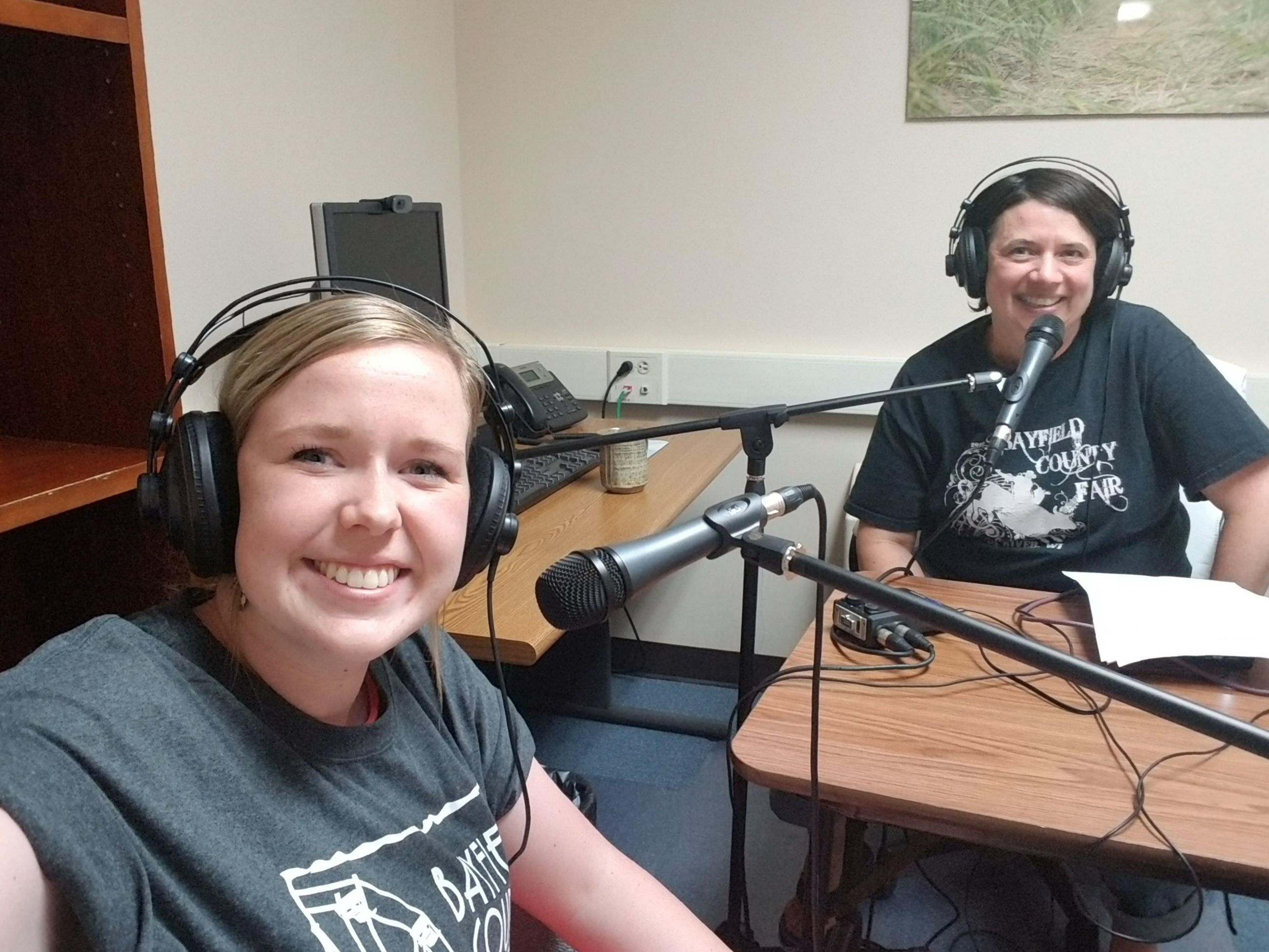 Mary Motiff and Emily Kovach-Erickson recording the Bayfield County Wild podcast